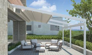 Outdoor Shelter Against Elements With Retractable Awnings